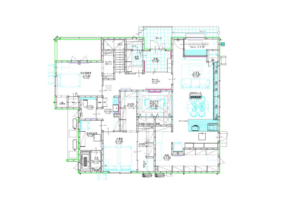 【山形県山形市】新築実例一戸建て写真住み分けて交わる2世帯住宅平面図